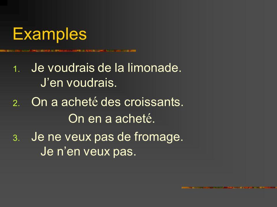 Examples 1. Je voudrais de la limonade. Jen voudrais.