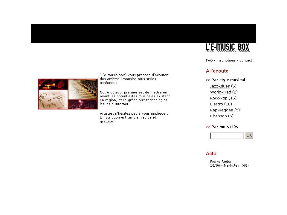 Sites web utiles http://www.lemusicbox.bm-limoges.fr/ (L e-music box) http://www.medias-cite.org/ (Médias-cité, centre de ressources pour les usages du multimédia) http://www.direct-stats.com/ (statistiques) http://www.google.com/analytics/ (statistiques) http://www.sacem.fr/ (SACEM) http://www.sesam.org/indexanim.html (SESAM) http://fr.creativecommons.org/ (licence libre) http://artlibre.org/ (licence libre) http://www.cnil.fr/ (CNIL)