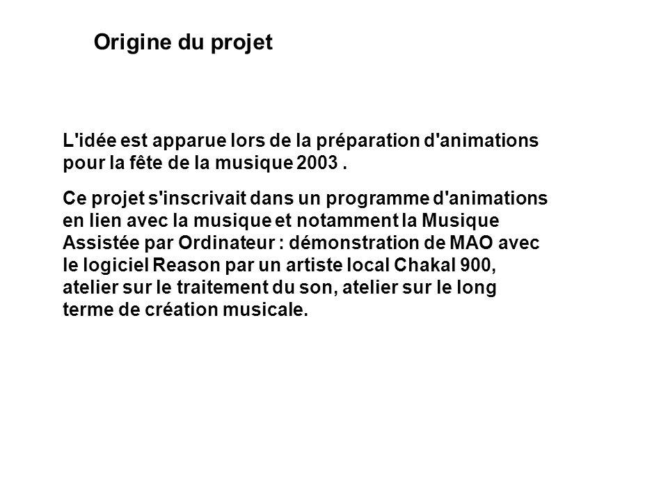 Origine du projet L'idée est apparue lors de la préparation d'animations pour la fête de la musique 2003. Ce projet s'inscrivait dans un programme d'a