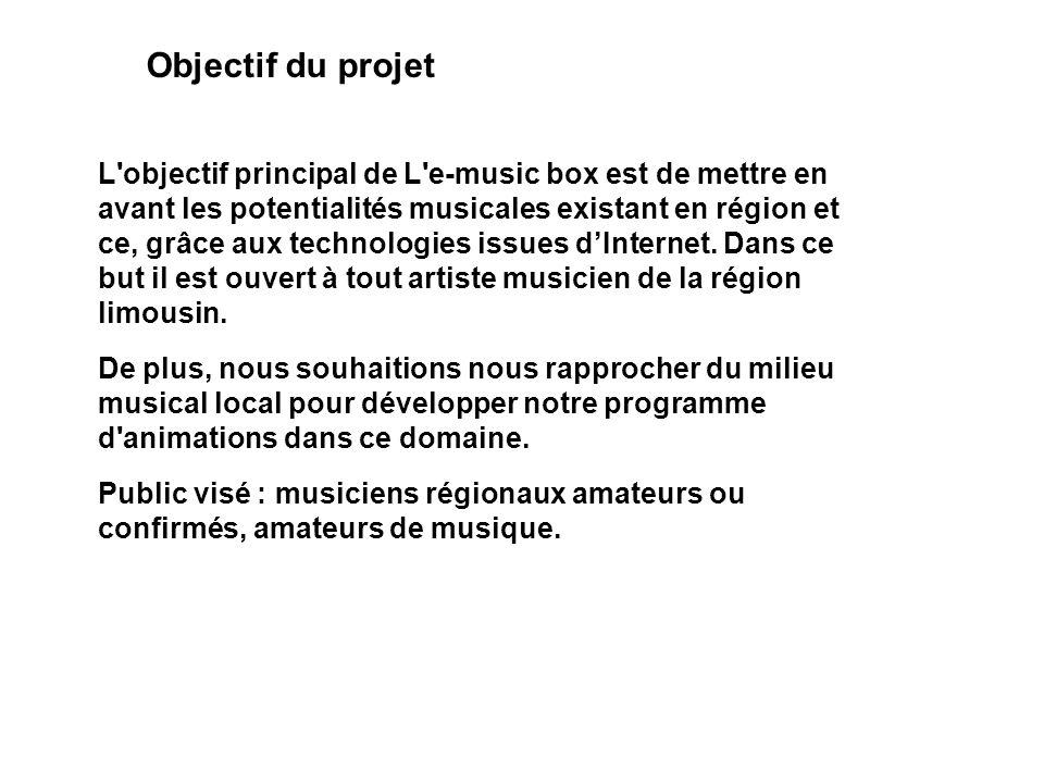 Objectif du projet L'objectif principal de L'e-music box est de mettre en avant les potentialités musicales existant en région et ce, grâce aux techno