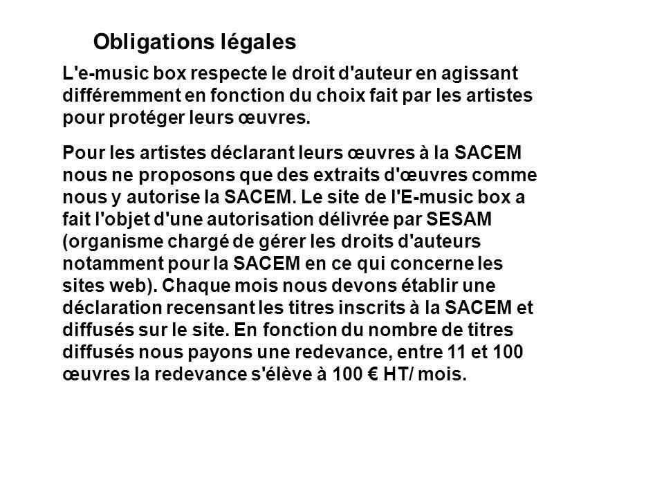 Obligations légales (suite) Pour les artistes qui protègent leurs œuvres en les plaçant sous licence Art libre ou Creative commons, nous diffusons les titres en entier en précisant quel contrat les protège.