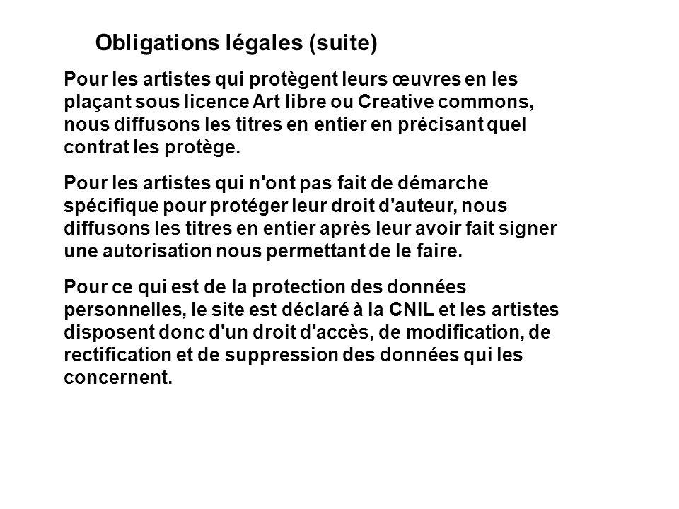 Obligations légales (suite) Pour les artistes qui protègent leurs œuvres en les plaçant sous licence Art libre ou Creative commons, nous diffusons les