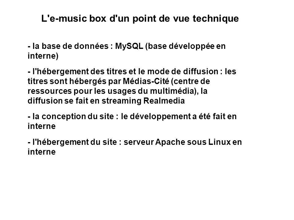 L'e-music box d'un point de vue technique - la base de données : MySQL (base développée en interne) - l'hébergement des titres et le mode de diffusion