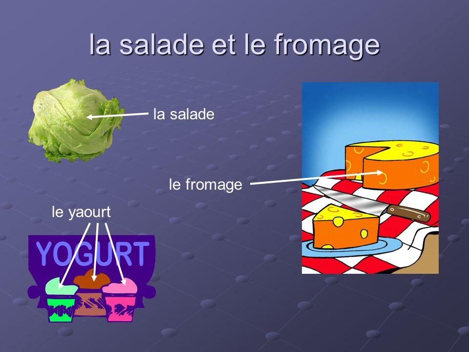 la salade et le fromage la salade le yaourt le fromage