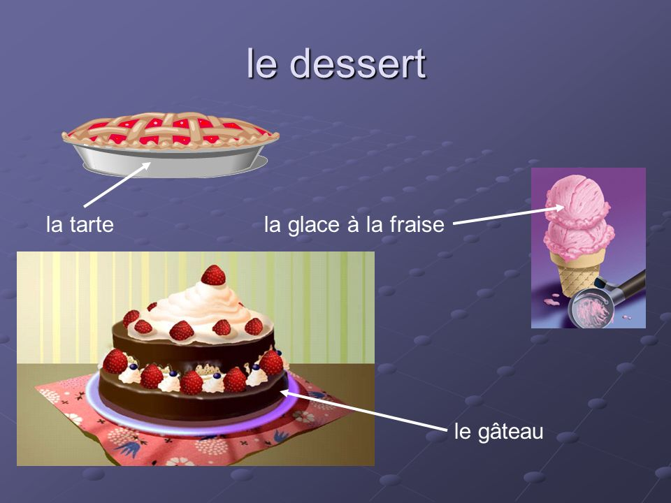le dessert le gâteau la tartela glace à la fraise