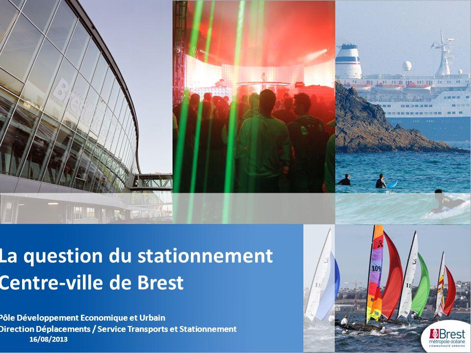 La question du stationnement Centre-ville de Brest Pôle Développement Economique et Urbain Direction Déplacements / Service Transports et Stationnemen