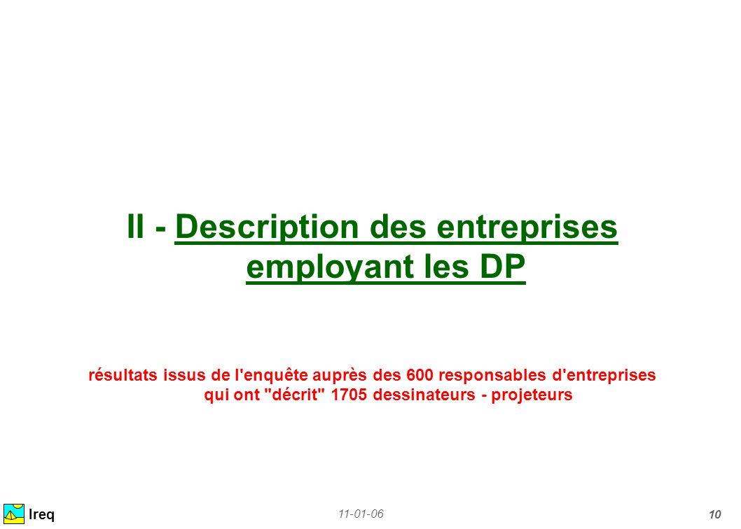 11-01-06 10 II - Description des entreprises employant les DP résultats issus de l'enquête auprès des 600 responsables d'entreprises qui ont