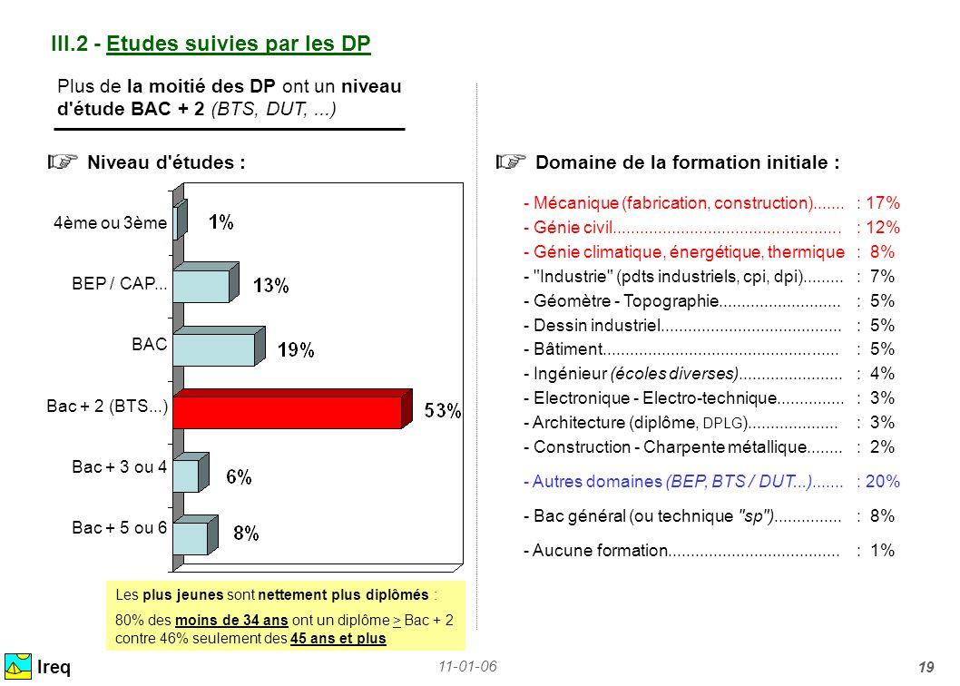 11-01-06 19 III.2 - Etudes suivies par les DP Niveau d'études : Ireq Domaine de la formation initiale : Plus de la moitié des DP ont un niveau d'étude