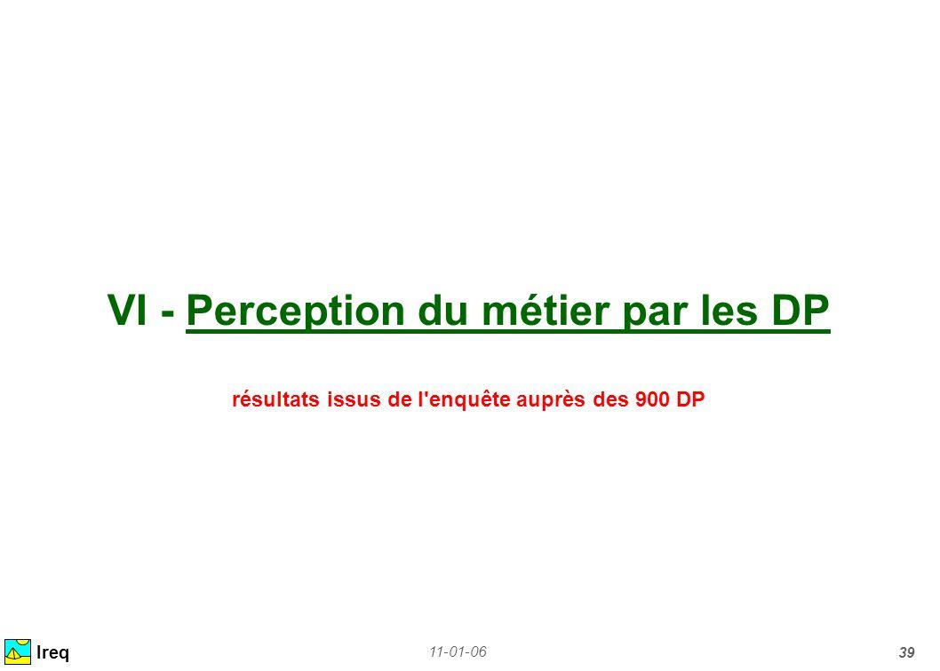 11-01-06 39 VI - Perception du métier par les DP résultats issus de l'enquête auprès des 900 DP Ireq