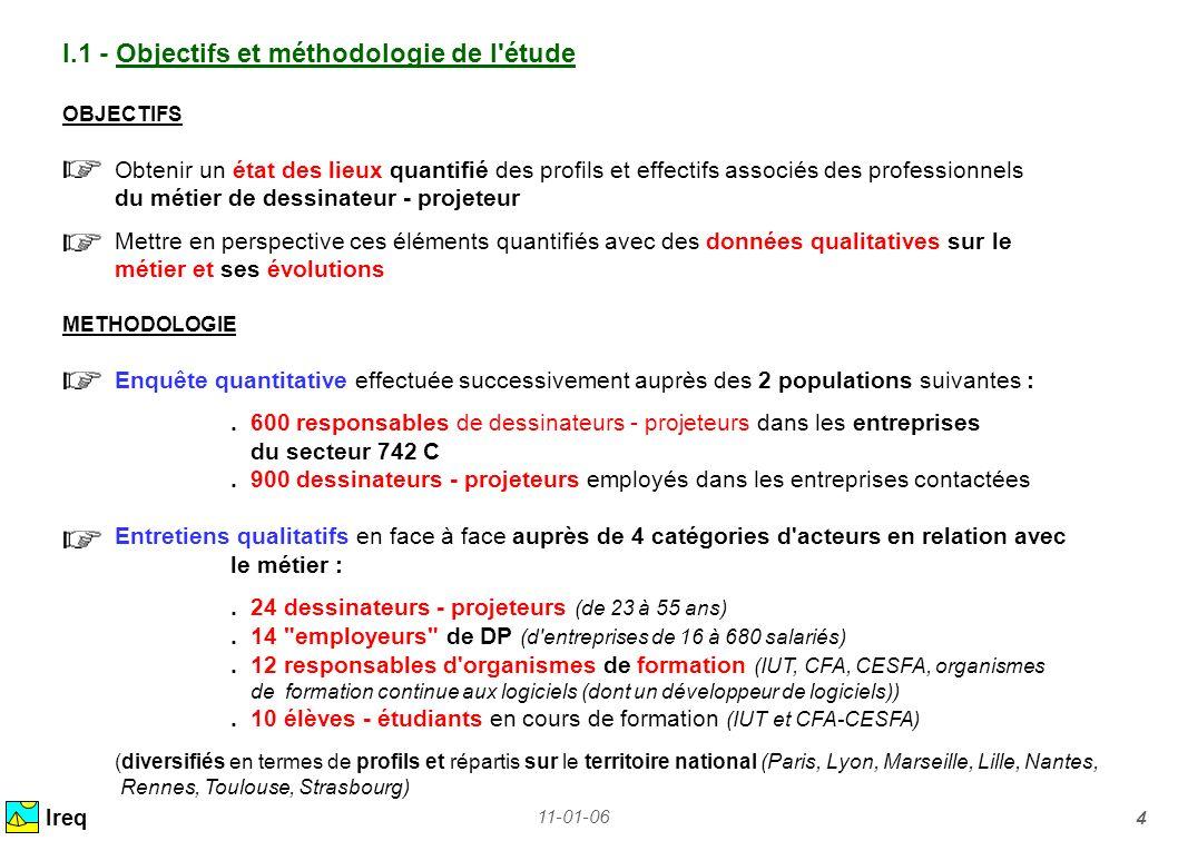 11-01-06 4 Ireq I.1 - Objectifs et méthodologie de l'étude OBJECTIFS Obtenir un état des lieux quantifié des profils et effectifs associés des profess