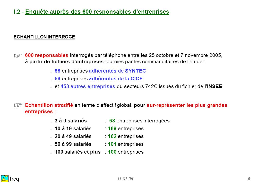 11-01-06 5 Ireq I.2 - Enquête auprès des 600 responsables d'entreprises ECHANTILLON INTERROGE 600 responsables interrogés par téléphone entre les 25 o