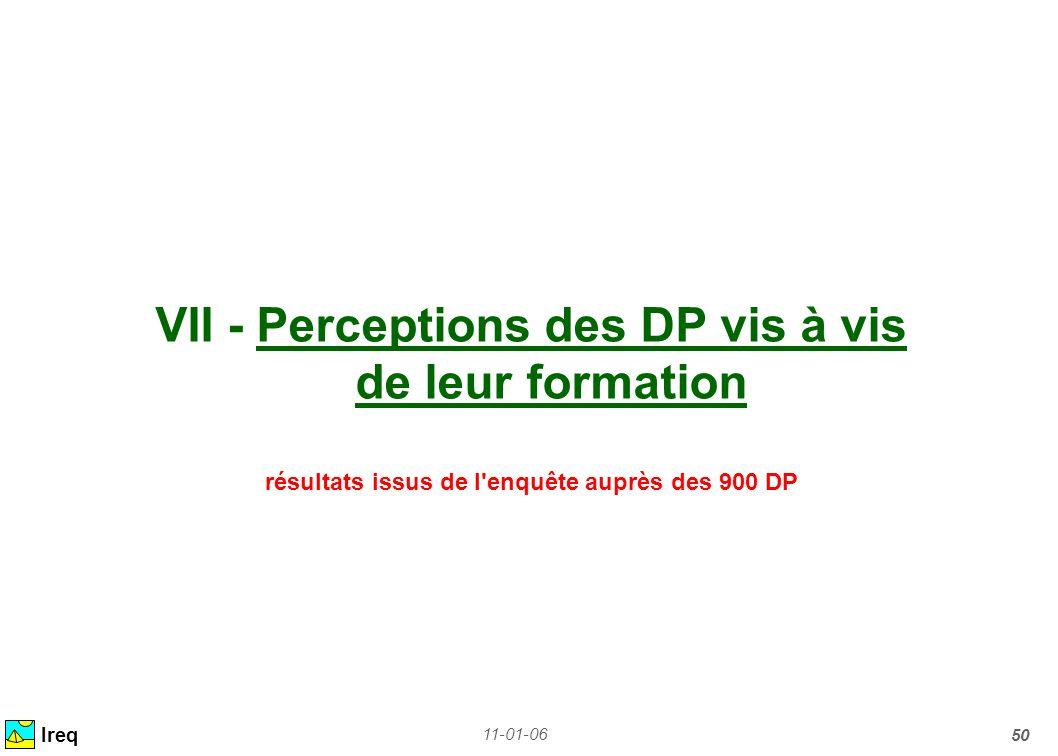 11-01-06 50 VII - Perceptions des DP vis à vis de leur formation résultats issus de l'enquête auprès des 900 DP Ireq