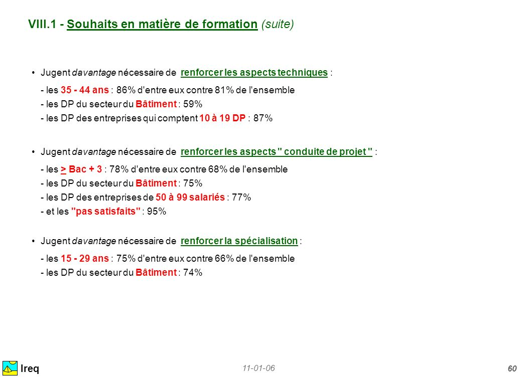 11-01-06 60 VIII.1 - Souhaits en matière de formation (suite) Ireq Jugent davantage nécessaire de renforcer les aspects techniques : - les 35 - 44 ans