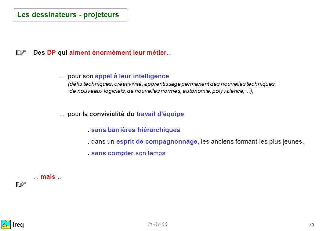 11-01-06 73 Les dessinateurs - projeteurs Ireq Des DP qui aiment énormément leur métier......pour son appel à leur intelligence (défis techniques, cré