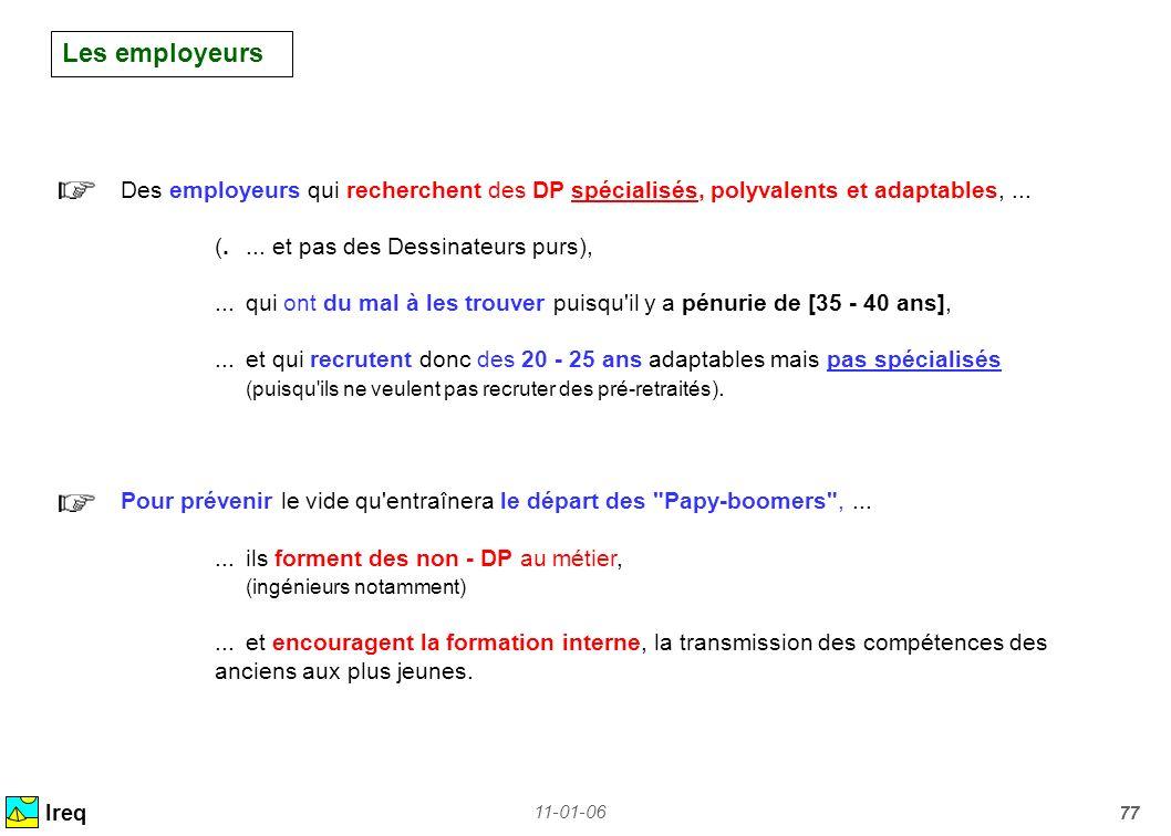11-01-06 77 Les employeurs Ireq Des employeurs qui recherchent des DP spécialisés, polyvalents et adaptables,... (.... et pas des Dessinateurs purs),.