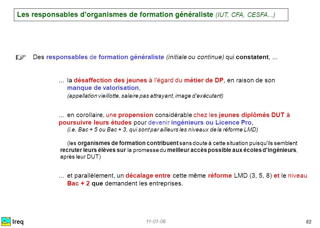 11-01-06 82 Les responsables d'organismes de formation généraliste (IUT, CFA, CESFA...) Ireq Des responsables de formation généraliste (initiale ou co