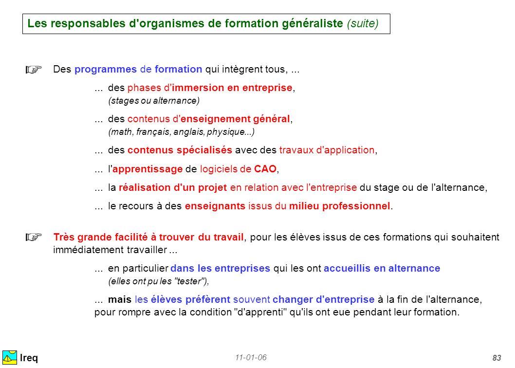 11-01-06 83 Les responsables d'organismes de formation généraliste (suite) Ireq Des programmes de formation qui intègrent tous,......des phases d'imme