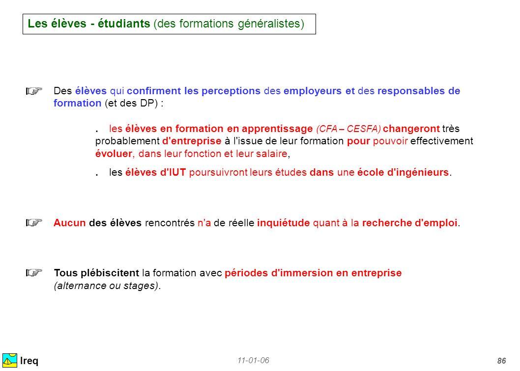 11-01-06 86 Les élèves - étudiants (des formations généralistes) Ireq Des élèves qui confirment les perceptions des employeurs et des responsables de