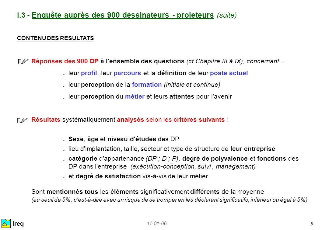 11-01-06 9 Ireq I.3 - Enquête auprès des 900 dessinateurs - projeteurs (suite) CONTENU DES RESULTATS Réponses des 900 DP à l'ensemble des questions (c