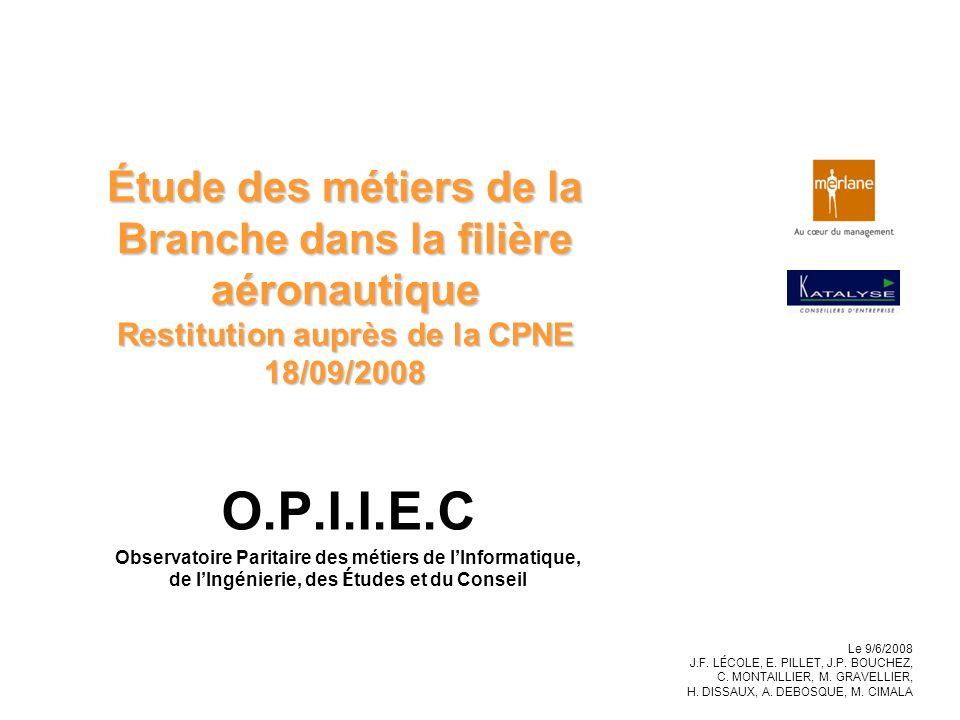 Étude des métiers de la Branche dans la filière aéronautique Restitution auprès de la CPNE 18/09/2008 O.P.I.I.E.C Observatoire Paritaire des métiers d