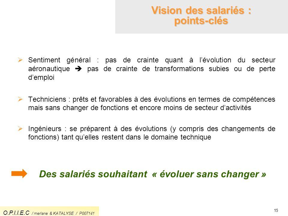 Vision des salariés : points-clés 15 Sentiment général : pas de crainte quant à lévolution du secteur aéronautique pas de crainte de transformations s
