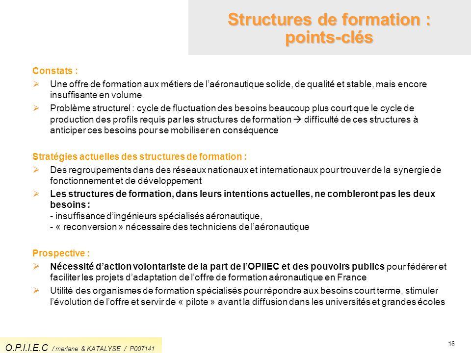 16 Structures de formation : points-clés Constats : Une offre de formation aux métiers de laéronautique solide, de qualité et stable, mais encore insu