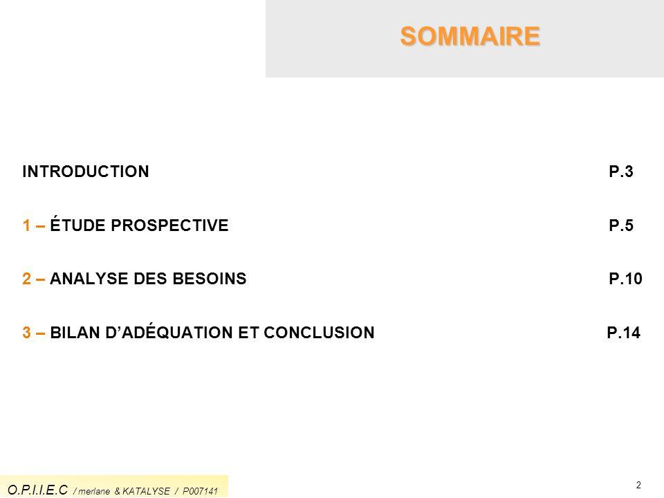 2 SOMMAIRE INTRODUCTION P.3 1 – ÉTUDE PROSPECTIVE P.5 2 – ANALYSE DES BESOINS P.10 3 – BILAN DADÉQUATION ET CONCLUSION P.14 O.P.I.I.E.C / merlane & KA