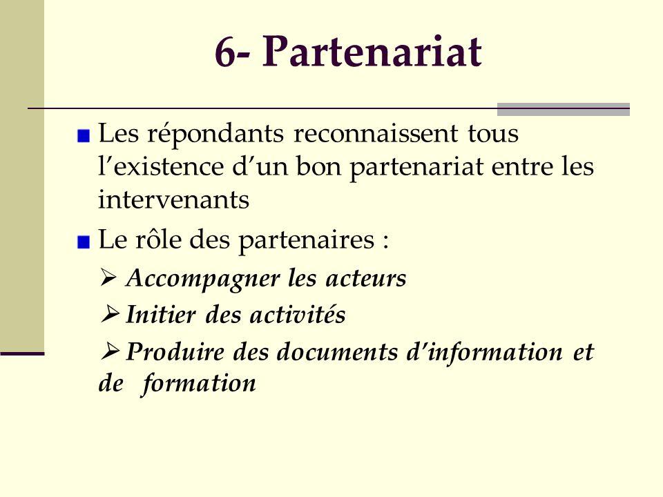 6- Partenariat Les répondants reconnaissent tous lexistence dun bon partenariat entre les intervenants Le rôle des partenaires : Accompagner les acteu