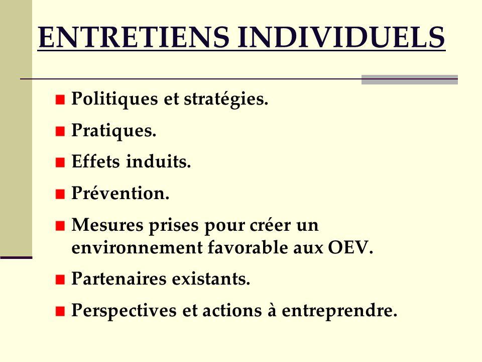 ENTRETIENS INDIVIDUELS Politiques et stratégies. Pratiques. Effets induits. Prévention. Mesures prises pour créer un environnement favorable aux OEV.
