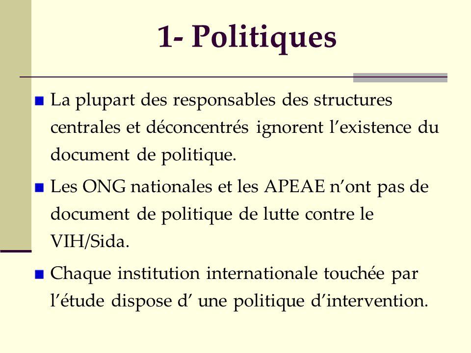 1- Politiques La plupart des responsables des structures centrales et déconcentrés ignorent lexistence du document de politique. Les ONG nationales et