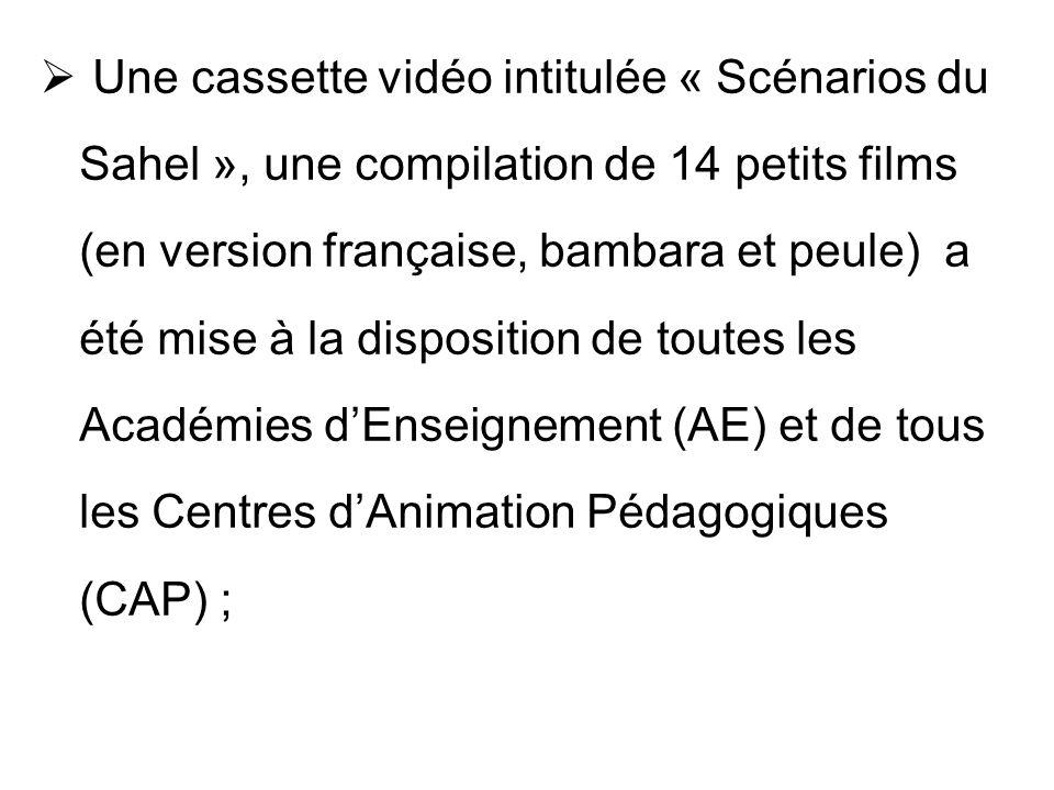 Une cassette vidéo intitulée « Scénarios du Sahel », une compilation de 14 petits films (en version française, bambara et peule) a été mise à la dispo