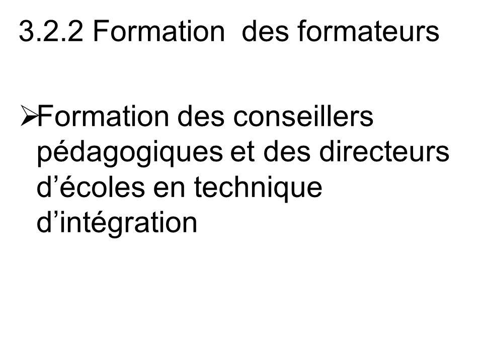 3.2.2 Formation des formateurs Formation des conseillers pédagogiques et des directeurs décoles en technique dintégration