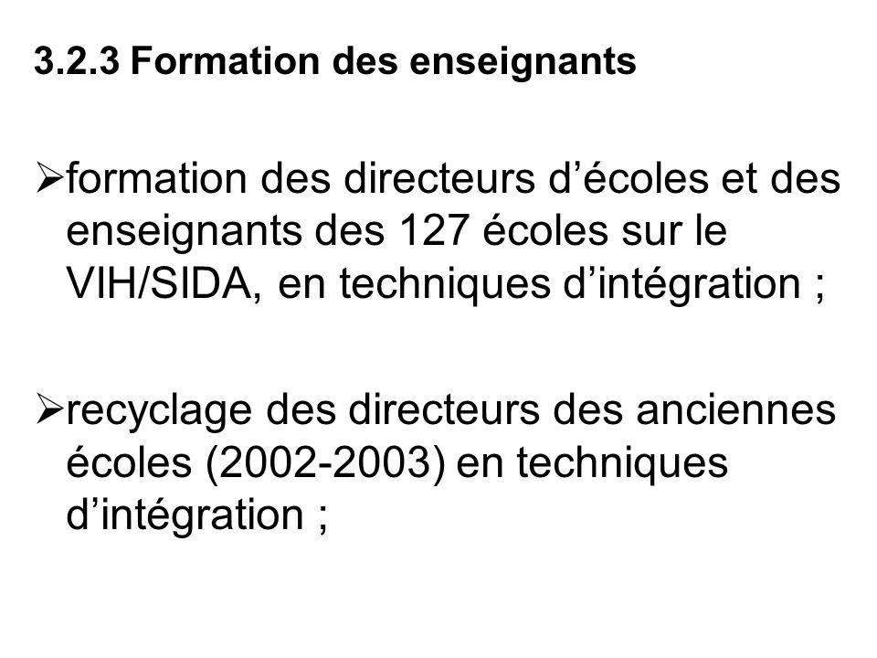 3.2.3 Formation des enseignants formation des directeurs décoles et des enseignants des 127 écoles sur le VIH/SIDA, en techniques dintégration ; recyc