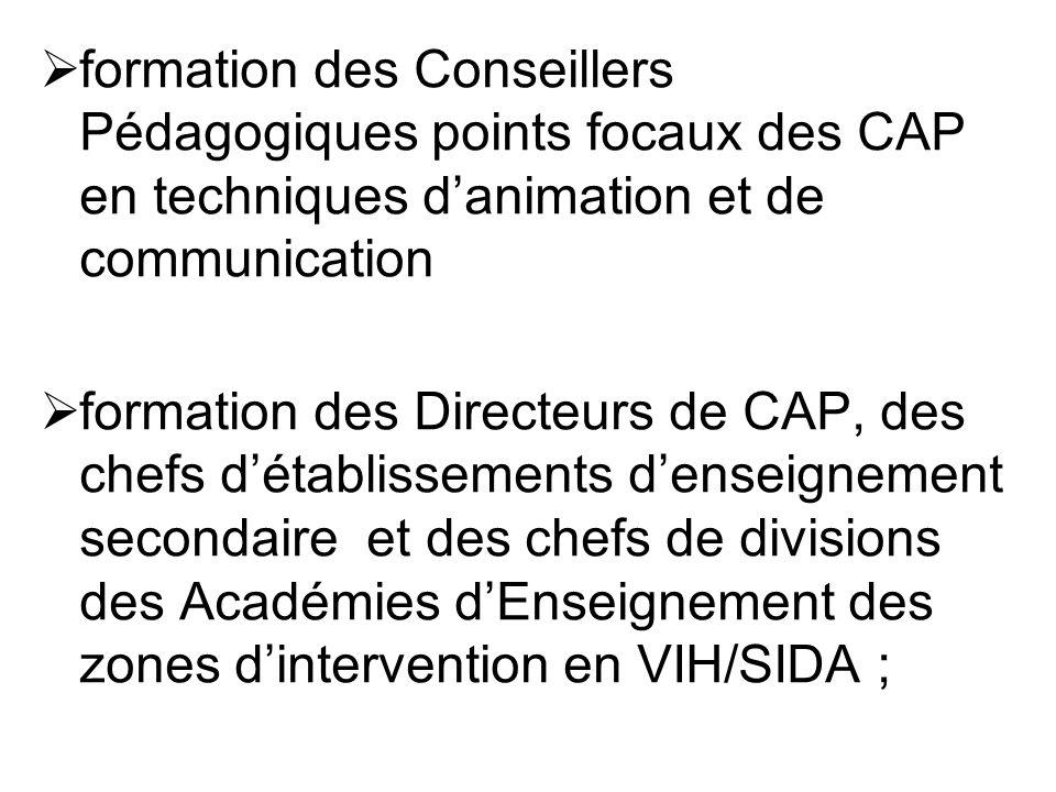 formation des Conseillers Pédagogiques points focaux des CAP en techniques danimation et de communication formation des Directeurs de CAP, des chefs d