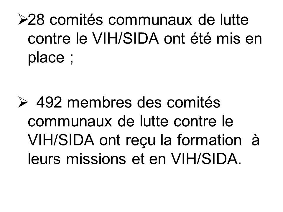 28 comités communaux de lutte contre le VIH/SIDA ont été mis en place ; 492 membres des comités communaux de lutte contre le VIH/SIDA ont reçu la form