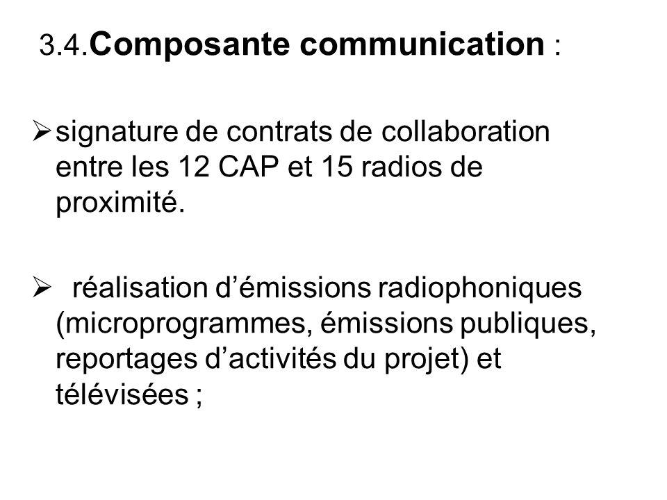 3.4. Composante communication : signature de contrats de collaboration entre les 12 CAP et 15 radios de proximité. réalisation démissions radiophoniqu