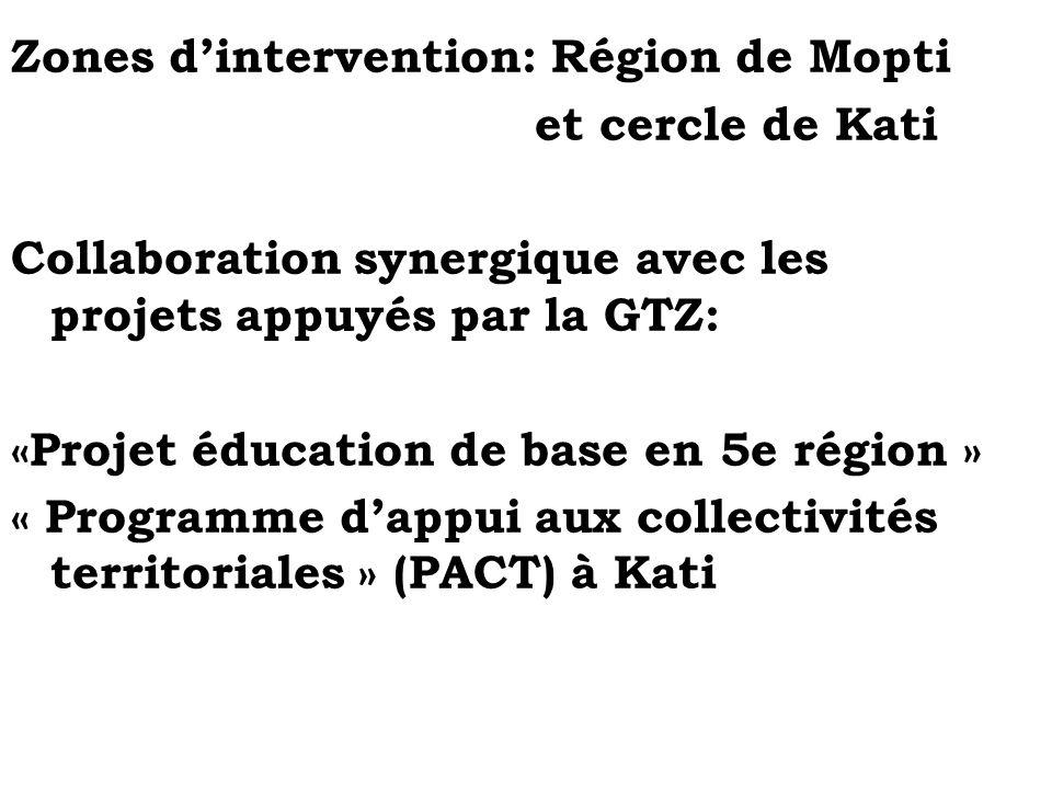 Zones dintervention: Région de Mopti et cercle de Kati Collaboration synergique avec les projets appuyés par la GTZ: «Projet éducation de base en 5e r
