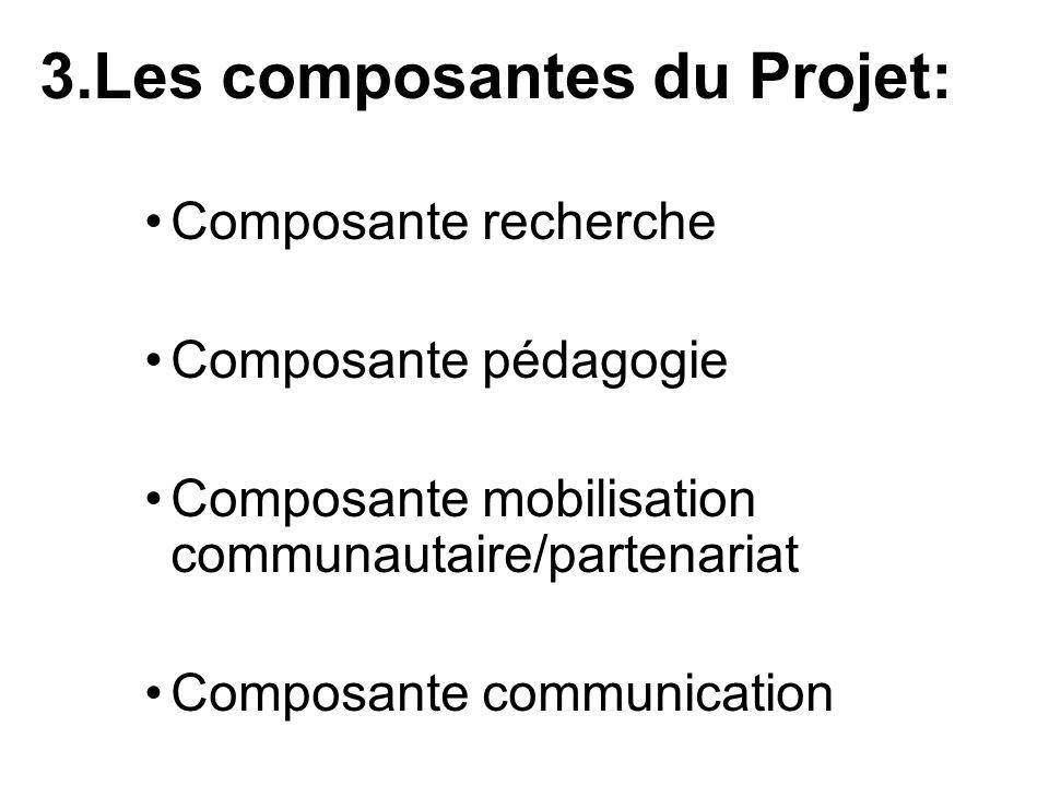3.Les composantes du Projet: Composante recherche Composante pédagogie Composante mobilisation communautaire/partenariat Composante communication
