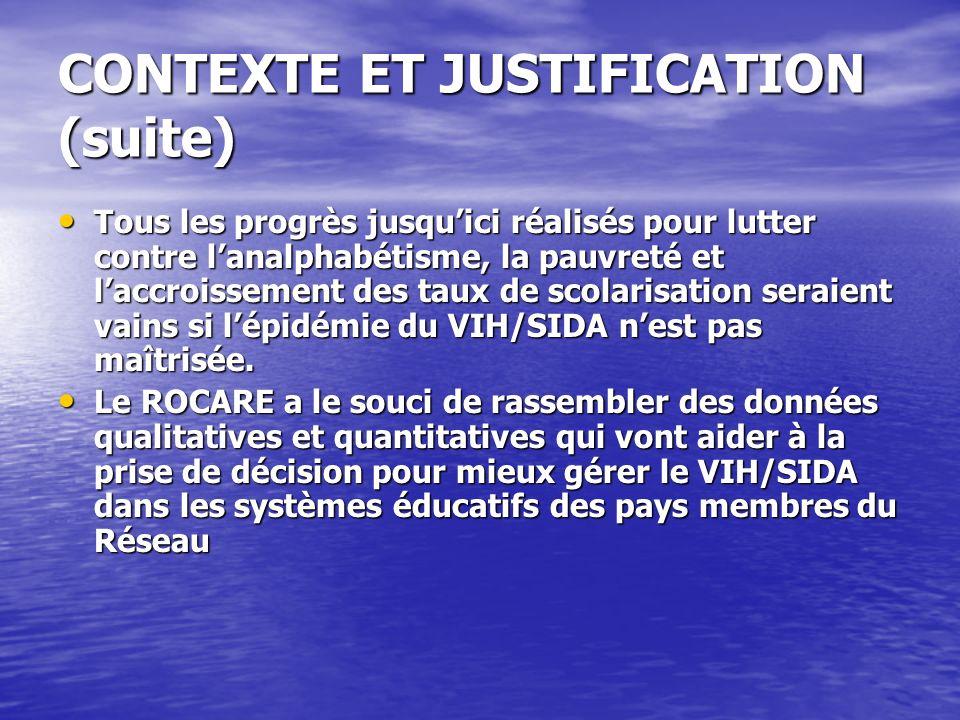 CONTEXTE ET JUSTIFICATION (suite) Tous les progrès jusquici réalisés pour lutter contre lanalphabétisme, la pauvreté et laccroissement des taux de sco