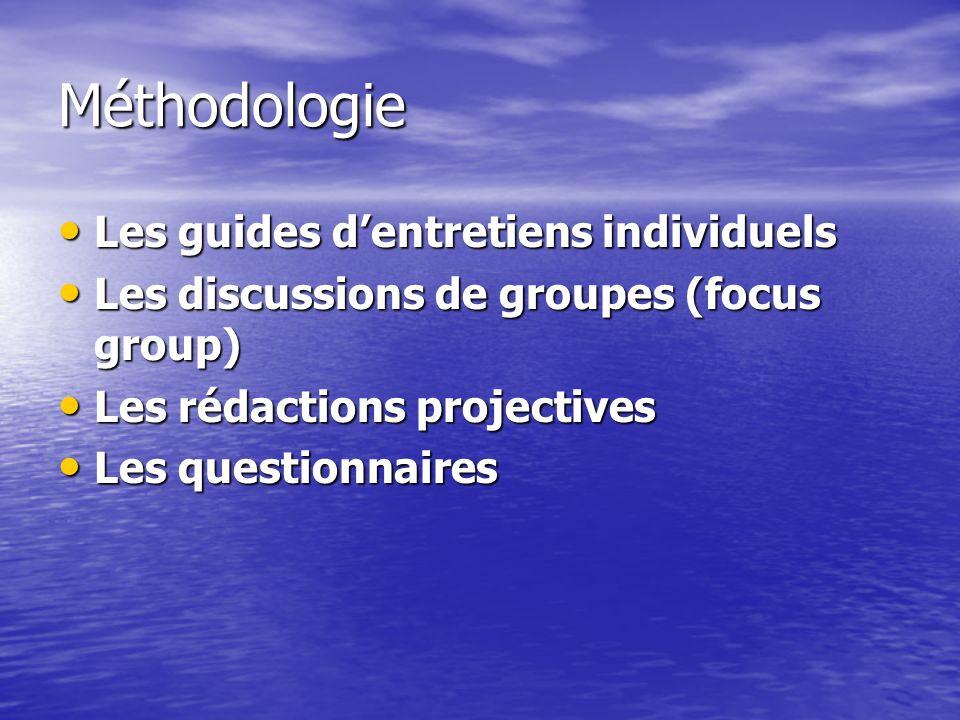 Méthodologie Les guides dentretiens individuels Les guides dentretiens individuels Les discussions de groupes (focus group) Les discussions de groupes