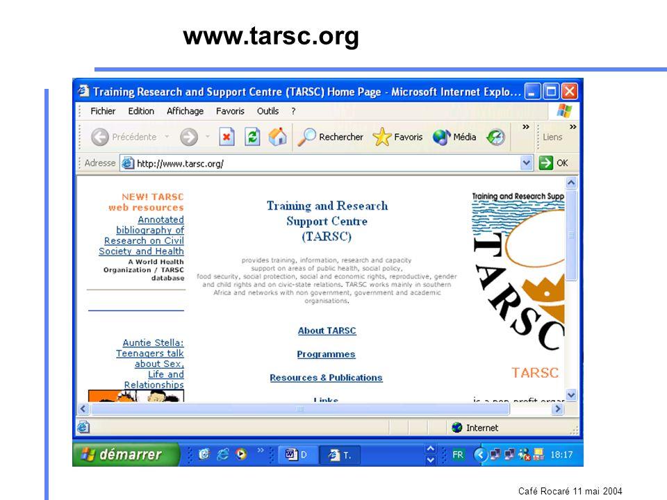 Café Rocaré 11 mai 2004 www.nigeria-aids.org