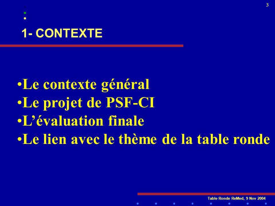 Table Ronde ReMed, 9 Nov 2004 3 1- CONTEXTE Le contexte général Le projet de PSF-CI Lévaluation finale Le lien avec le thème de la table ronde