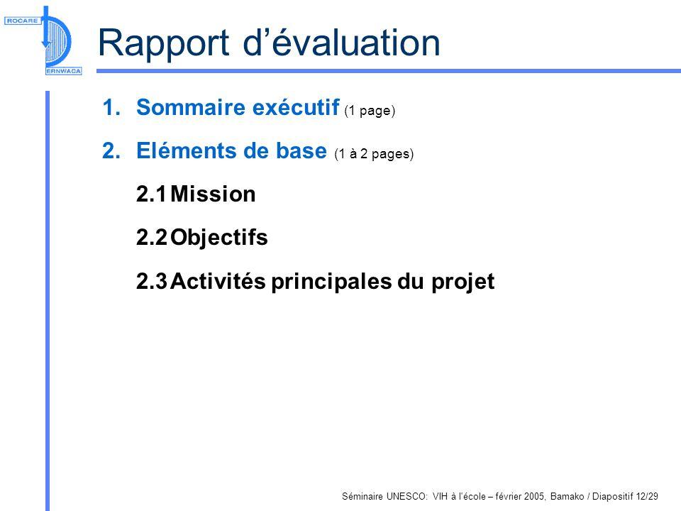 Séminaire UNESCO: VIH à l école – février 2005, Bamako / Diapositif 12/29 Rapport dévaluation 1.Sommaire exécutif (1 page) 2.Eléments de base (1 à 2 pages) 2.1Mission 2.2Objectifs 2.3Activités principales du projet
