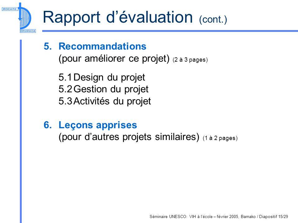 Séminaire UNESCO: VIH à l école – février 2005, Bamako / Diapositif 15/29 Rapport dévaluation (cont.) 5.Recommandations (pour améliorer ce projet) (2 à 3 pages) 5.1Design du projet 5.2Gestion du projet 5.3Activités du projet 6.Leçons apprises (pour dautres projets similaires) (1 à 2 pages)