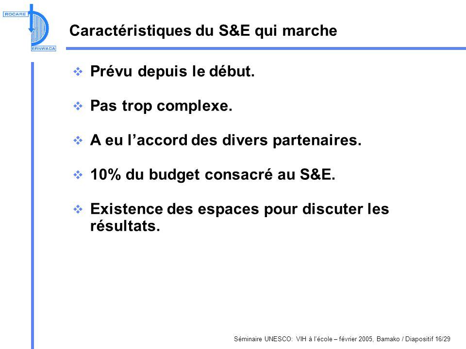 Séminaire UNESCO: VIH à l'école – février 2005, Bamako / Diapositif 16/29 Caractéristiques du S&E qui marche Prévu depuis le début. Pas trop complexe.