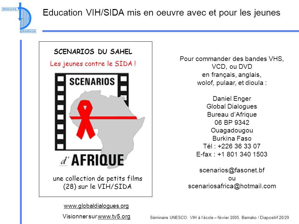 Séminaire UNESCO: VIH à l école – février 2005, Bamako / Diapositif 20/29 Education VIH/SIDA mis en oeuvre avec et pour les jeunes SCENARIOS DU SAHEL Les jeunes contre le SIDA .