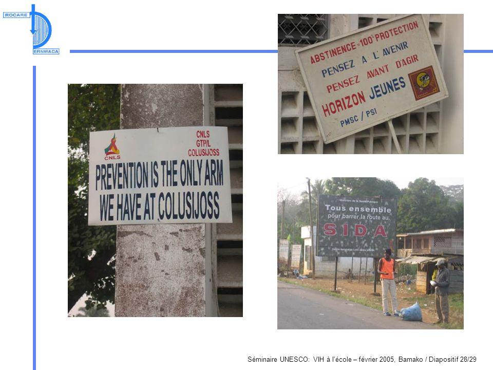 Séminaire UNESCO: VIH à l école – février 2005, Bamako / Diapositif 28/29