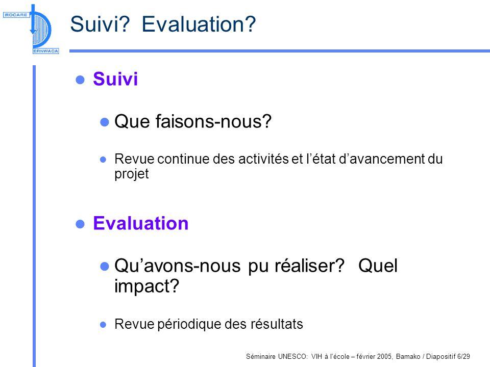 Séminaire UNESCO: VIH à l'école – février 2005, Bamako / Diapositif 6/29 Suivi? Evaluation? Suivi Que faisons-nous? Revue continue des activités et lé