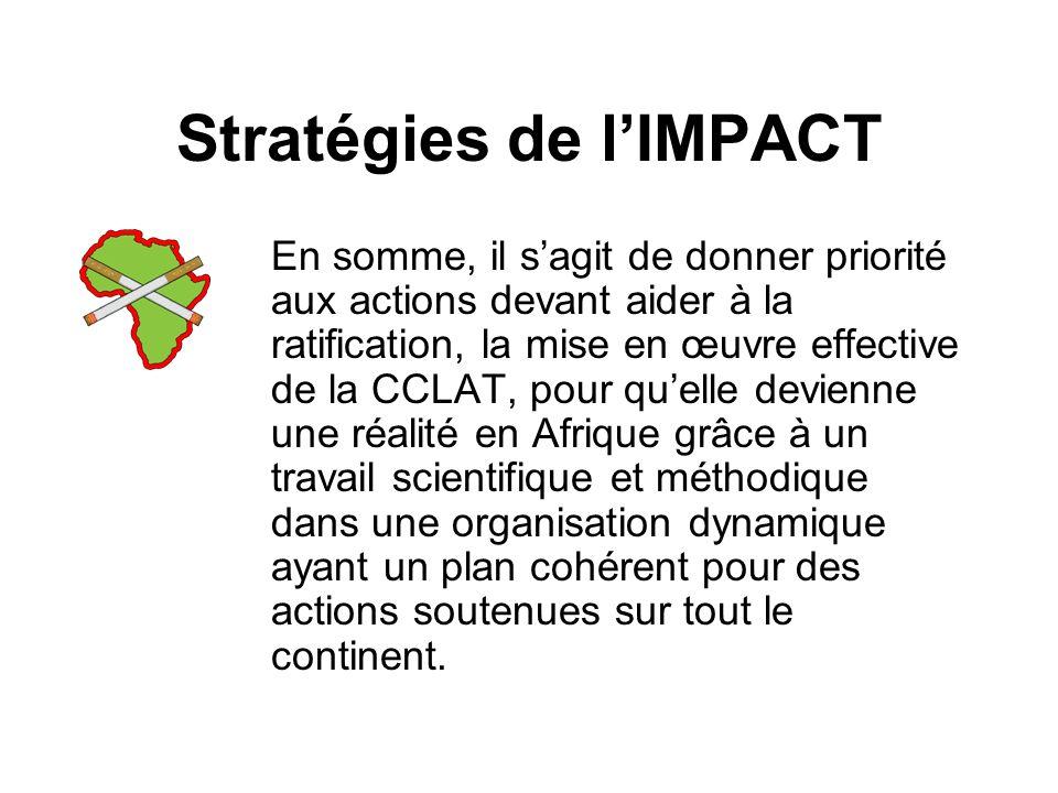 Stratégies de lIMPACT En somme, il sagit de donner priorité aux actions devant aider à la ratification, la mise en œuvre effective de la CCLAT, pour quelle devienne une réalité en Afrique grâce à un travail scientifique et méthodique dans une organisation dynamique ayant un plan cohérent pour des actions soutenues sur tout le continent.
