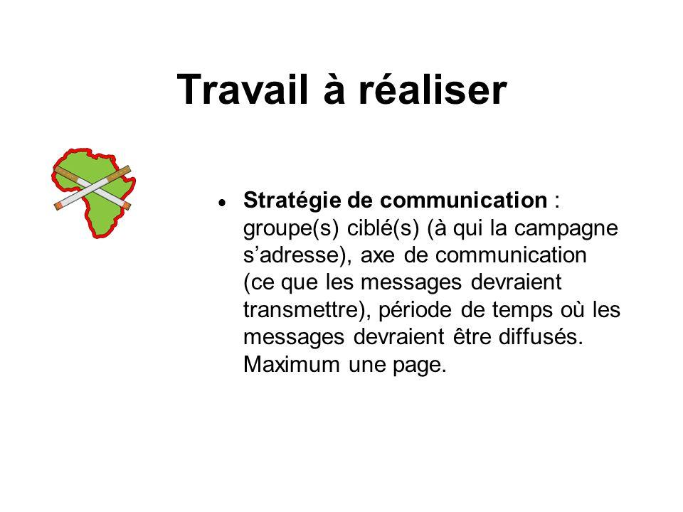 Travail à réaliser Stratégie de communication : groupe(s) ciblé(s) (à qui la campagne sadresse), axe de communication (ce que les messages devraient transmettre), période de temps où les messages devraient être diffusés.